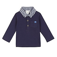 J by Jasper Conran - Baby boys' navy textured checked polo shirt