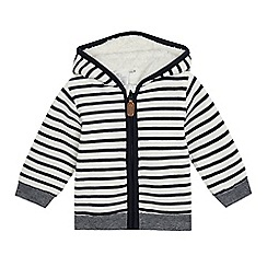 J by Jasper Conran - Baby boys' white striped zip-up hoodie