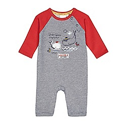 J by Jasper Conran - Baby boys' red and grey whale applique romper suit