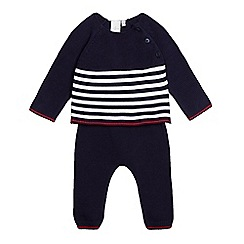 J by Jasper Conran - Boys' navy knitted striped top and joggers set