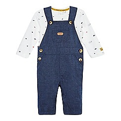 J by Jasper Conran - Baby girls' blue dungarees and bodysuit set