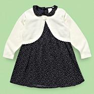 Designer Babies navy spotted peter pan dress and cardigan