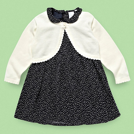 J by Jasper Conran - Designer Babies navy spotted peter pan dress and cardigan