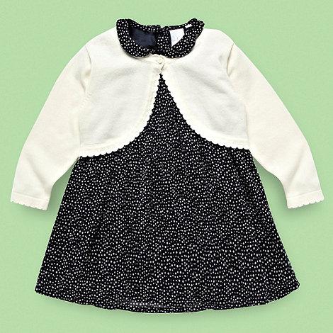 J by Jasper Conran - Designer Babies navy spotted peter pan dress and cardigan