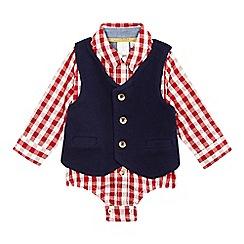 J by Jasper Conran - Baby boys' red checked bodysuit and waistcoat set