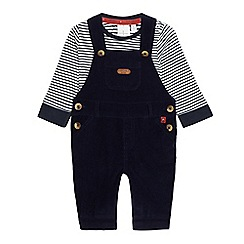 J by Jasper Conran - Baby boys' navy cord dungarees and striped onesie set