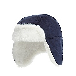 J by Jasper Conran - Baby boys' navy cord trapper hat