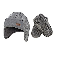 J by Jasper Conran - Babies grey cable knit trapper hat and mittens set