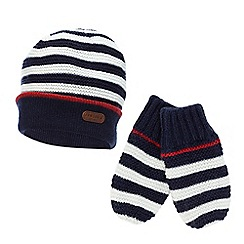 J by Jasper Conran - Baby boys' striped knitted hat and mittens