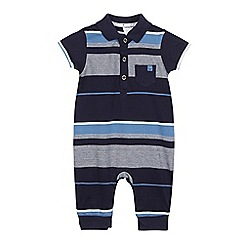 J by Jasper Conran - Baby boys' navy and blue striped polo romper suit