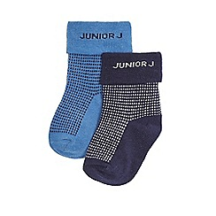 J by Jasper Conran - Pack of two baby boys' blue and navy textured spot socks