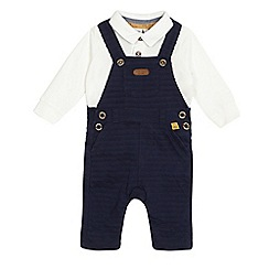 J by Jasper Conran - Baby boys' navy textured striped dungaree and off-white polo shirt set