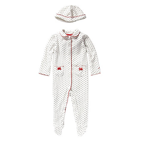 J by Jasper Conran - Designer Babies cream spotted velour baby grow and hat