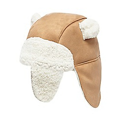 Mantaray - Baby boys' beige borg lined trapper hat
