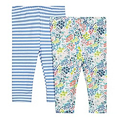 bluezoo - Pack of two baby girls' blue striped and multi-coloured floral print leggings