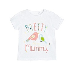 bluezoo - Baby girls' white 'Pretty like my Mummy' applique t-shirt