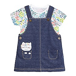 bluezoo - Baby girls' blue chambray dungarees and white floral bodysuit set