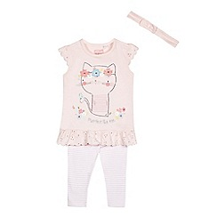 bluezoo - Baby girls' light pink cat print top, striped leggings and headband set