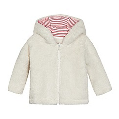bluezoo - Baby girls' cream fleece ear applique hoodie