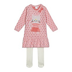 bluezoo - Baby girls' pink cat stitched knitted dress and white tights set