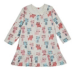 bluezoo - Baby girls' off-white cat print dress