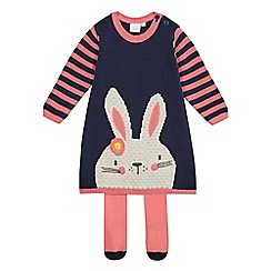 bluezoo - Girls' pink bunny knitted dress and tights set