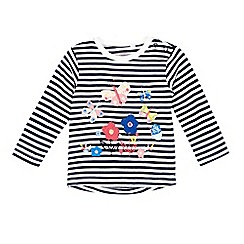 bluezoo - Baby girls' navy and white striped print butterfly applique top