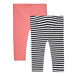 bluezoo - Pack of two baby girls' pink and white striped leggings
