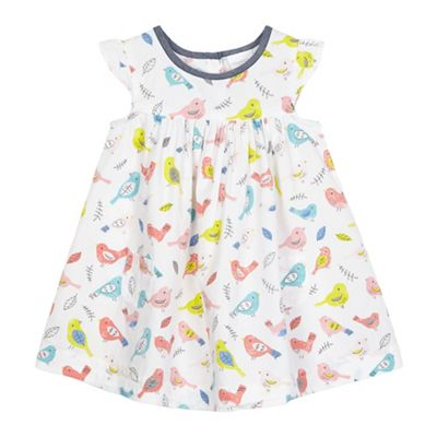 bluezoo Baby girls' white bird print dress - . -