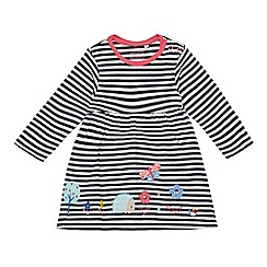bluezoo - Baby girls' navy striped butterfly and hedgehog applique dress