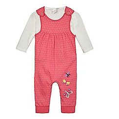 bluezoo - Baby girls' pink butterfly applique dungarees and top set