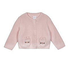 bluezoo - Baby girls' pink cat applique pocket cardigan