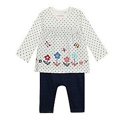 bluezoo - Baby girls' white flower applique mock romper suit