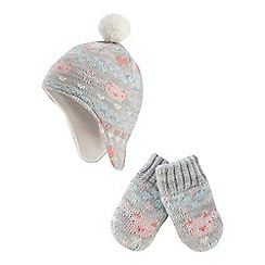 bluezoo - Light grey animal patterned hat and mittens set