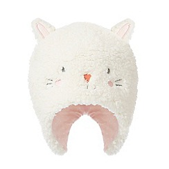 bluezoo - Baby girls' cream fleece cat applique cat
