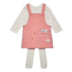 bluezoo - Baby girls' pink cat and bee applique pinafore, top and tights set
