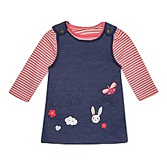 bluezoo - Baby girls' navy bunny and butterfly applique pinafore and top set