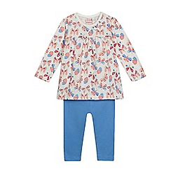 bluezoo - Baby girls' multi-coloured butterfly print top and blue leggings set