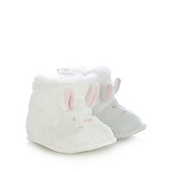 bluezoo - Baby girls' white faux fur bunny applique booties