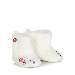 bluezoo - Baby girls' white knitted booties