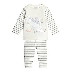 bluezoo - Baby girls' cream unicorn applique top and striped leggings set