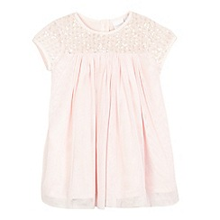 bluezoo - Baby girls' light pink mesh sequinned yoke dress