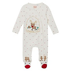 bluezoo - Babies white 'Christmas 2016' reindeer applique sleepsuit