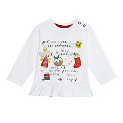 bluezoo - Baby girls' white Christmas themed applique top