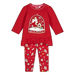 bluezoo - Baby girls' red fairy mouse print tunic and leggings set