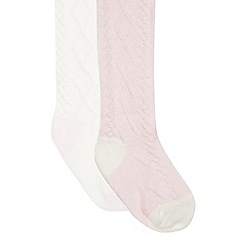 J by Jasper Conran - Designer Babies cream and pink pack of two cable knitted tights