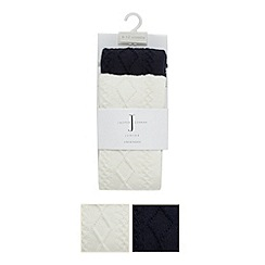 J by Jasper Conran - Designer Babies cream and navy pack of two cable knitted tights