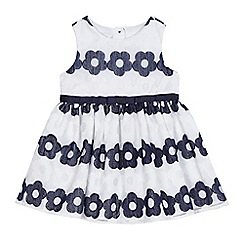 J by Jasper Conran - Baby girls' white and navy woven flower stripe dress