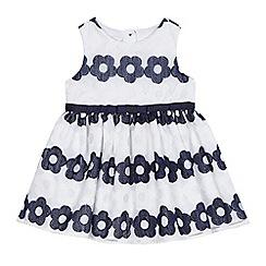 J by Jasper Conran - Baby girls' white and navy woven flower stripe dress