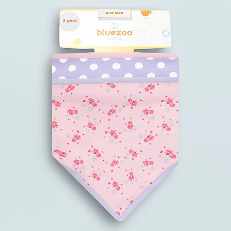 bluezoo - Babies pack of two floral and spotted dribble bibs